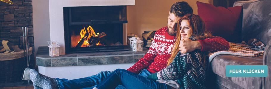 Weihnachten, Paar, Kamin, Wärme, Schnee