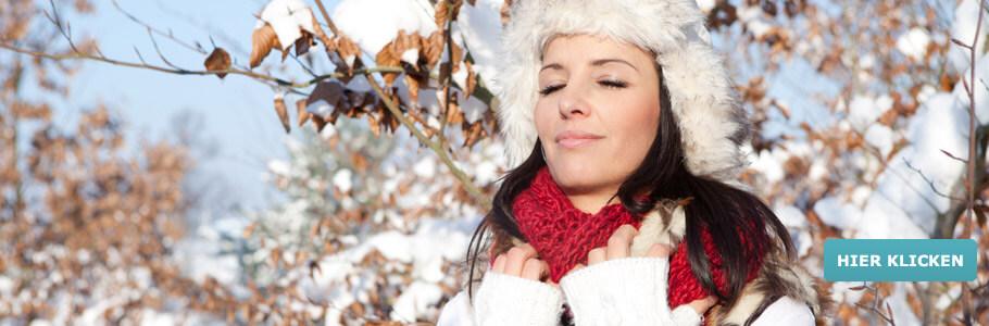 Wellness, Winter, Frau, Schnee, Blätter